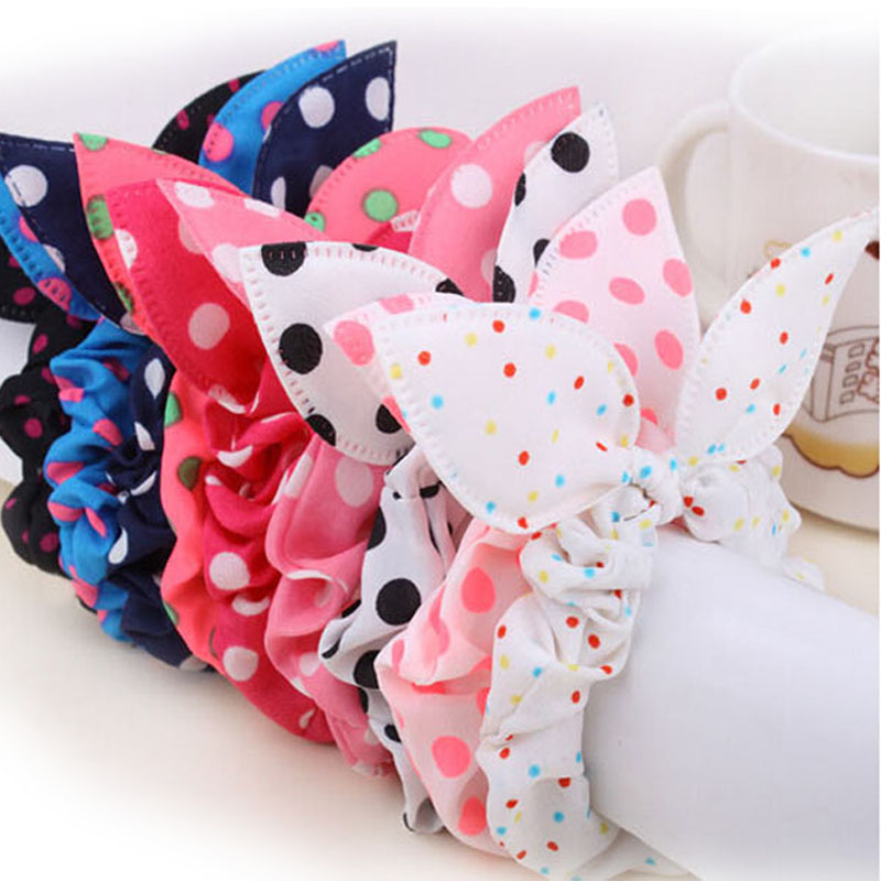 (BUY 5pcsSEND 6pcs) Fashion Hair Band Polka Dot Elastic Hair Rope Ponytail Holder Rabbit Ears Hair Tie Girl Hair Accessory(China (Mainland))