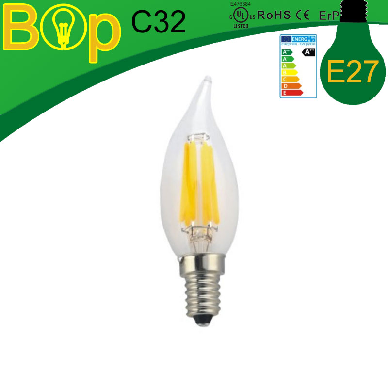 Factory wholesale BOP C32 4W 6W E27 LED Filament Candle Bulbs 360 Degree cob light bulb Dimmable Lamp Warm white Replace Halogen(China (Mainland))