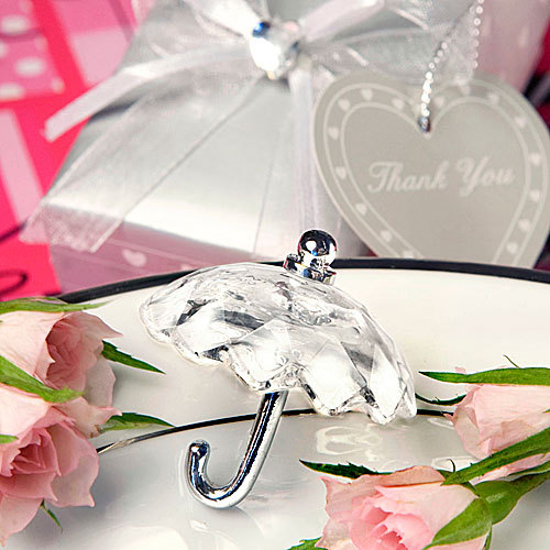 25Pcs Free Shipping Crystal Favor For Wedding Umbrella Birthday Party Favor For Guests+Silver Gift Box Ribbon And Thank You Card(China (Mainland))
