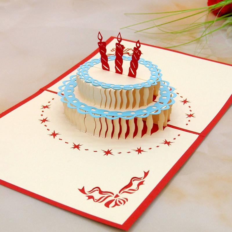 Wholesale 3d Postcard For Birthday With Cake Shaped Happy Birthday