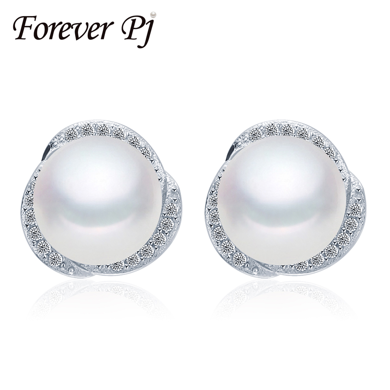 2016 forever jewelry real natural freshwater pearl earrings genuine 925 sterling silver stud earrings fashion gift pearl jewelry(China (Mainland))