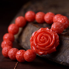 National Red Giant Clam Rose bracelet for Women, Artificial Stones 10mm Buddha Bracelet Charm Jewelry For Lady,Christmas Gift(China (Mainland))