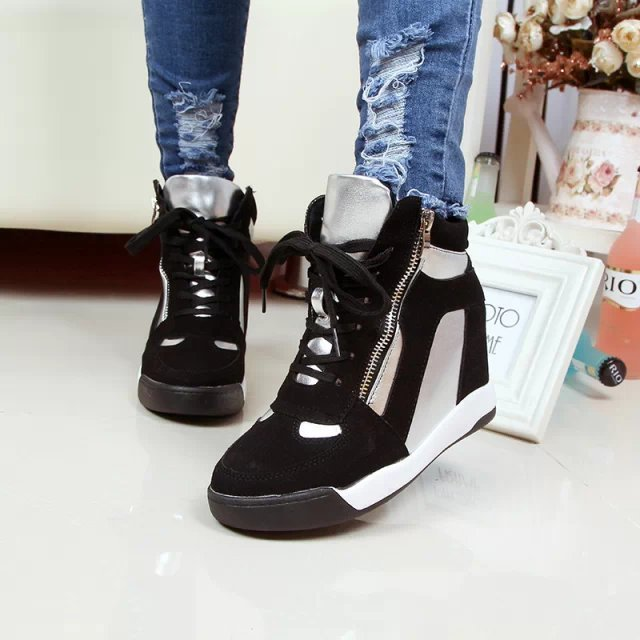 2014 New autumn and winter height increasing women ziper sneakers.Top quality casual wedge shoes.lady sports shoes #933-10