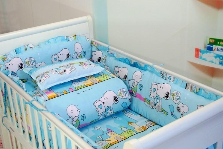 Фотография Promotion! 7pcs Baby Crib Bedding set for girls Cot Set Embroidery Quilt Bumper  (bumper+duvet+matress+pillow)