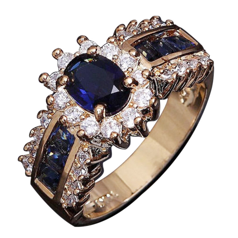 Classic Engagement Ring 18K gold plated lovers promise Ring for women Size 6-12 Women Blue Sapphire18K Gold Filled Wedding Rings(China (Mainland))