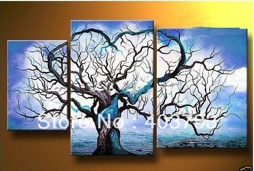 buy at disscount price Modern Abstract Oil Painting on canvas blue sky abstract tree landscape (no framed) free shipping(China (Mainland))