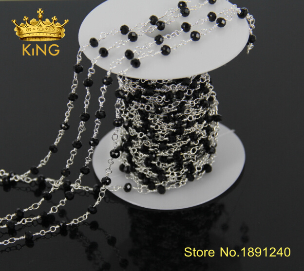 5Meter/Lot Wholesale!Wire Wrapped Beaded Chains Silver Plated Rosary Chain Black Crystal Faceted Beads Jewelry Making JD012(China (Mainland))