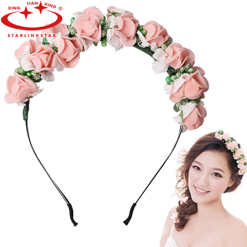 2016 New Women Wedding Flower Wreath Headband Kids Party Floral Garlands Ribbon Adjustable Flower Crown Hair Accessories(China (Mainland))