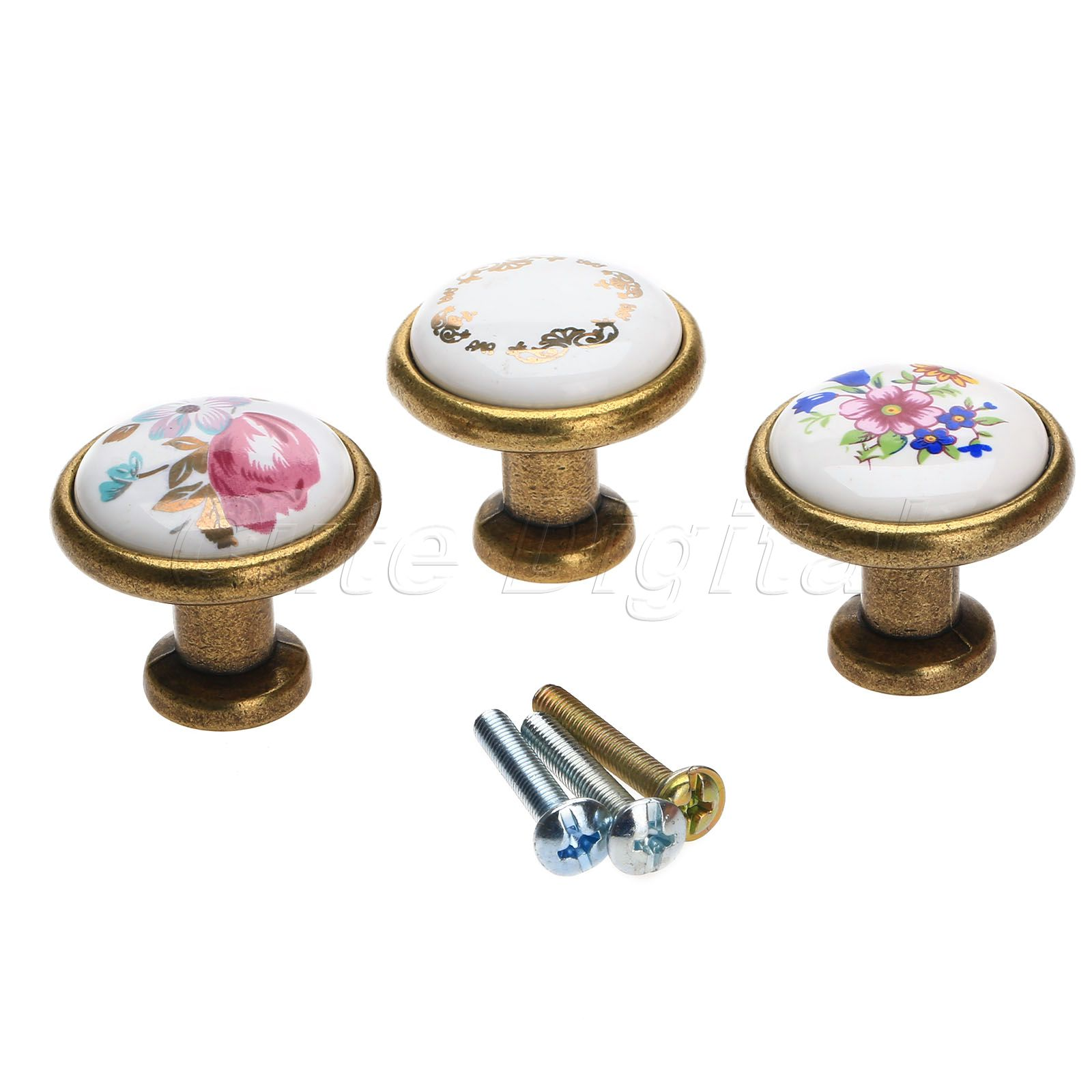 Europe style antibrass flower kitchen door knob drawer for Small door knobs and handles