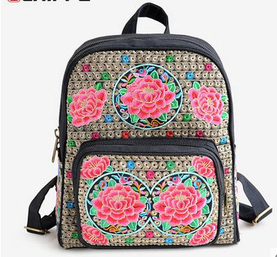 Free Shipping Women New Fashion Trend Canvas Backpacks Girl Chinese National Wind Embroidery Bags Student Floral Soft Cotton Bag