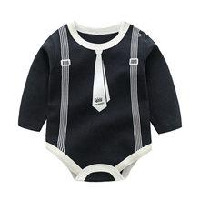 Для маленьких мальчиков с длинными рукавами и хлопковое боди Черный Белый галстук-бабочка джентльмена тела 1 шт. для младенцев, мальчиков оф...(China)