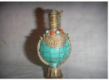Tibet Chinese turquoise Copper Snuff Bottle free shipping