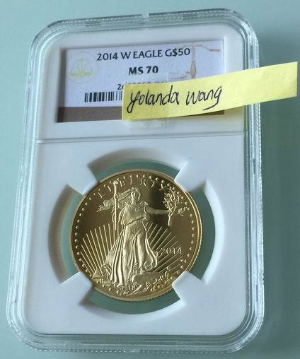 Proof 2014 W American Eagle 1 ounce 24k fine gold coin free shipping(China (Mainland))