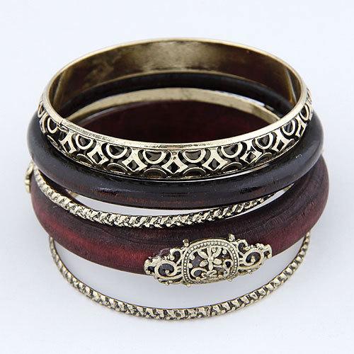 2014 New Vintage Gold Wood Maxi bracelets bangles Pulseiras Femininas Indian Layered Statement Bangle for Women men jewelry(China (Mainland))