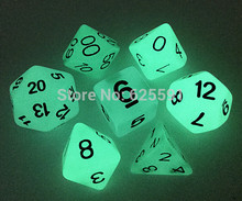 Buy 7pc/lot High Glowing polyhedral Dice D4,6,8,10,10%,12,20,Glow Dark,luminous,Shiny for $5.02 in AliExpress store