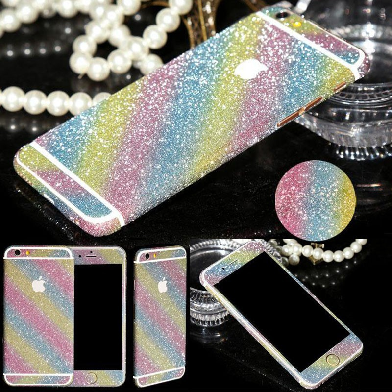 For iPhone 6S Luxurious Full Body Bling Stickers Shiny Glitter Rainbow Front Back Side Sticker For iPhone 5/5s 6 6s 6plus(China (Mainland))