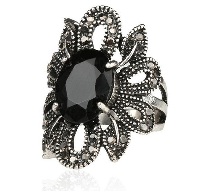 Панк-рок кольца серебряные украшения восстановление древних путей черный агат камни ...