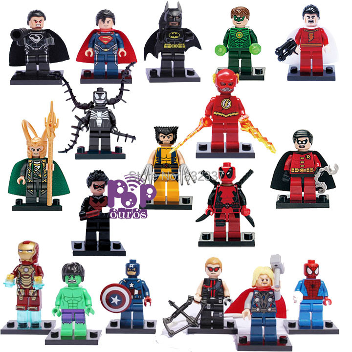 18pcs/lot Pop DIY ABS Marvel Super Heroes Building Blocks The Avengers Minifigures Compatible With Lego Brick Toys(China (Mainland))