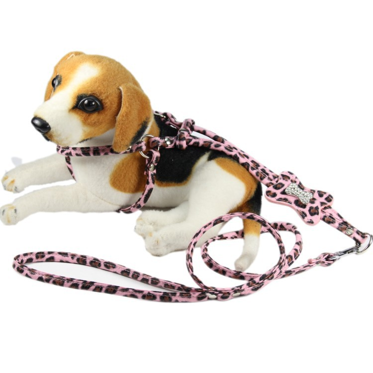 ( 6 Sets / lot ) One piece Harness Leashes Pu Leather Leopard Pet dog suit small - YIWU Honey Products Factory store