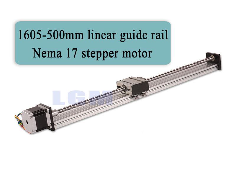 cnc rail kit linear bearing slide rail 500mm linear rails cnc + nema 17 stepper motor linear stage effective stroke500mm LG004(China (Mainland))
