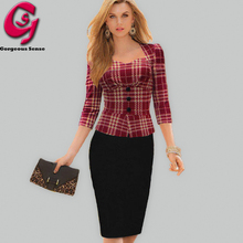 Fashion Women Pencil Work Dress UK Patchwork Red Plaid Bodycon Midi Office Dress Elegant Ladies Casual Party Formal Dresses 2015(China (Mainland))