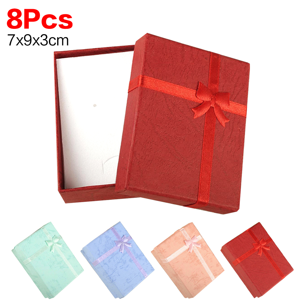 9*7*3cm Hot Sell 8Pcs/lot Multicolor Fancy Bowtie Box Necklace Pendant Ring Earring Christmas Gift Boxes Jewelry Packaging Boxes(China (Mainland))