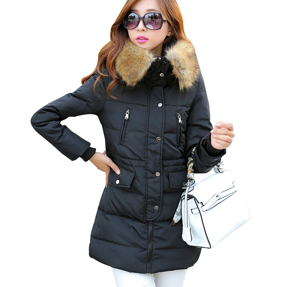 Autumn Winter New 2015 Fashion Fur Collar Hooded Winter Jacket Women Elegant Slim White Duck Down Women Parkas Size S-2XL MA0536