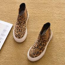 Thời trang Giày Mùa Đông Phụ Nữ Chelsea Khởi Động Dày Duy Nhất Leopard Giày Dép Mùa Đông Ấm Sang Trọng Khởi Động của Phụ Nữ Phụ Nữ Mắt Cá Chân Botas A362(China)