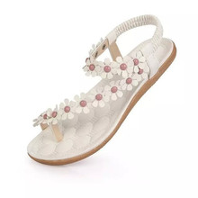 2016 Women's shoes woman sandals Bohemia summer sandal shoes pinch the new clip toe flowers flat han edition with beach shoes(China (Mainland))
