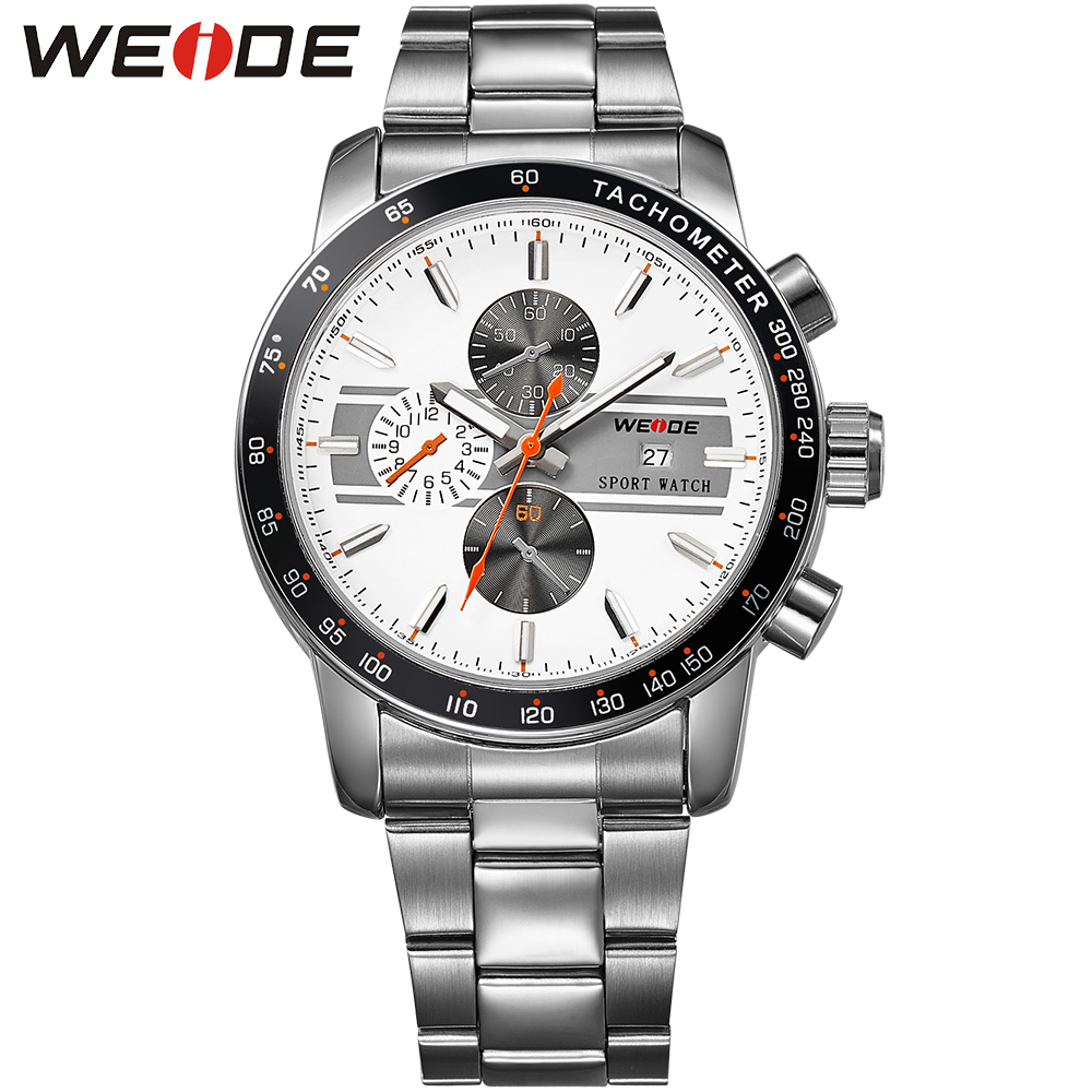 WEIDE Brand Luxury Men Dress Watch Water Resistance White Dial Japan Movement Stainless Steel Quartz Wrist Watches For Male