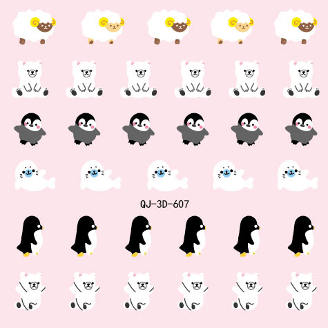 2015 Hot Sale Watch Decals Nail Fashion Real Beauty Manicure Sticker Stick 3 D Cartoon Animal Sheep Penguin Duck 24 Qj 600-623(China (Mainland))