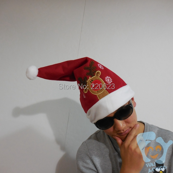 5pcs/lot Thin Santa Claus With Big Gifts Bag Santa Hats Christmas Hats New Year 2015 Navidad Red Color Free Shipping(China (Mainland))