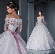 Luxurious Ball Gown Lace Wedding Dresses 2015 New Off the Shoulder Long Sleeves Chapel Train Tulle Appliques Beads Bridal Gowns(China (Mainland))