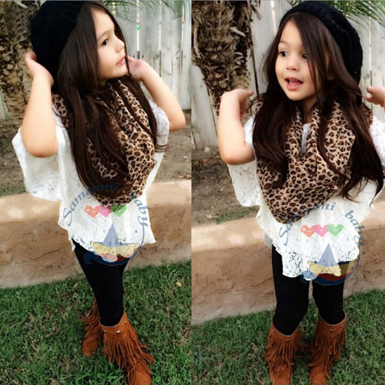 New 2015 Girls Summer Girls lace bat shirt + vest + leopard scarf + pants 4pcs set Girl fashion sets Childrens casual clothing<br><br>Aliexpress
