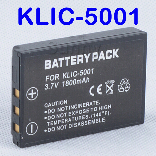 Lithium-Ion Rechargeable Battery Pack KLIC-5001 for Kodak Easyshare Z730,Z760,Z7590,DX6490,DX7440, P850,P880,P712 Digital Camera(China (Mainland))