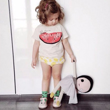 Bobo Choses kid T-shirt Print Casual Spring Clothing Short Sleeve White Cotton Colour Boys Girls KIKII Baby Watermelon Pattern