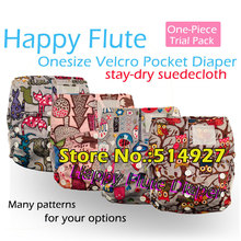 one-piece pack, Happy Flute onesize baby cloth diaper, fit babies 3-15kg, velcro diaper without insert(China (Mainland))