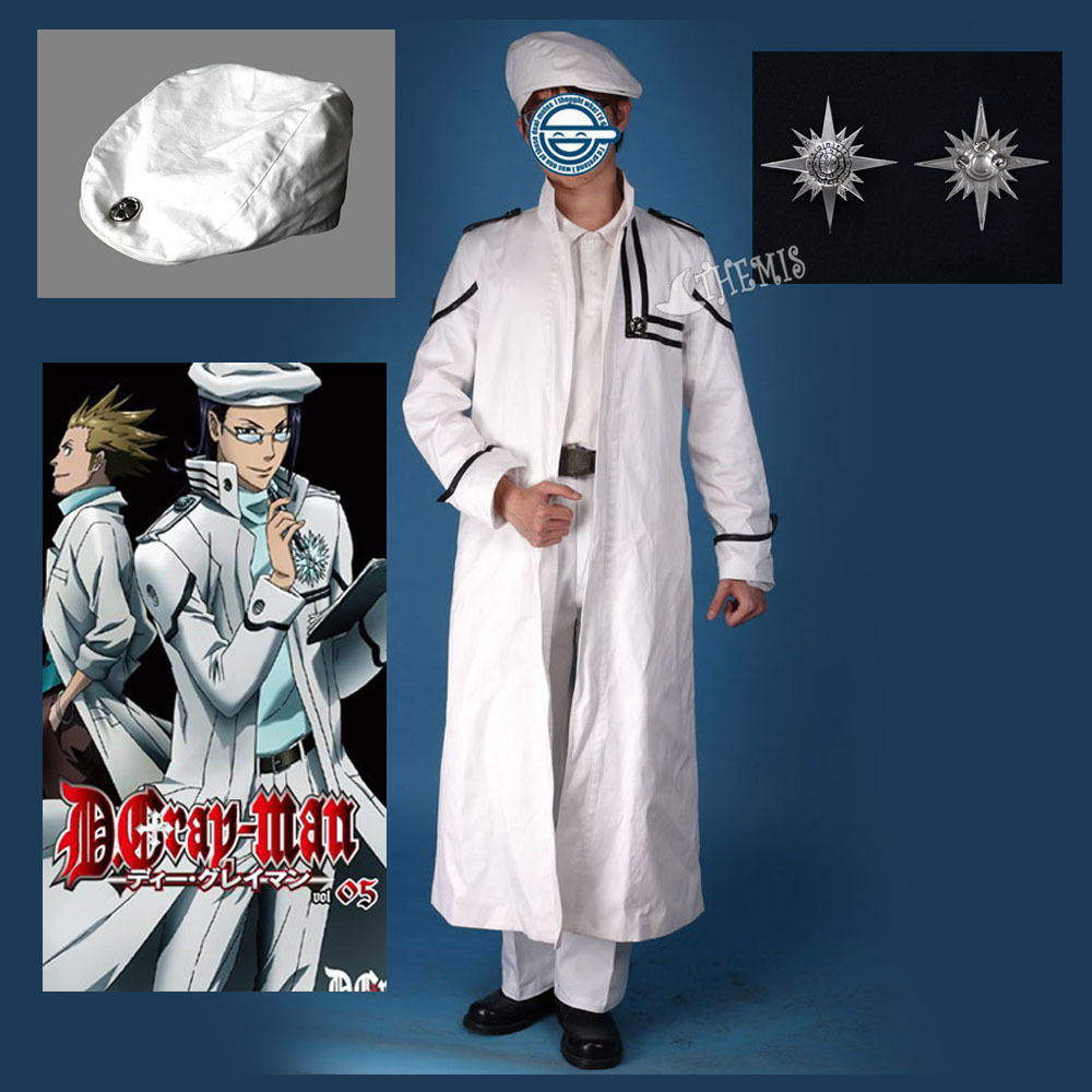 Athemis D.Gray-man Komui Lee Cosplay Costume leather coat hat Dark Religious Organization symbol Badge custom made Any sizeОдежда и ак�е��уары<br><br><br>Aliexpress