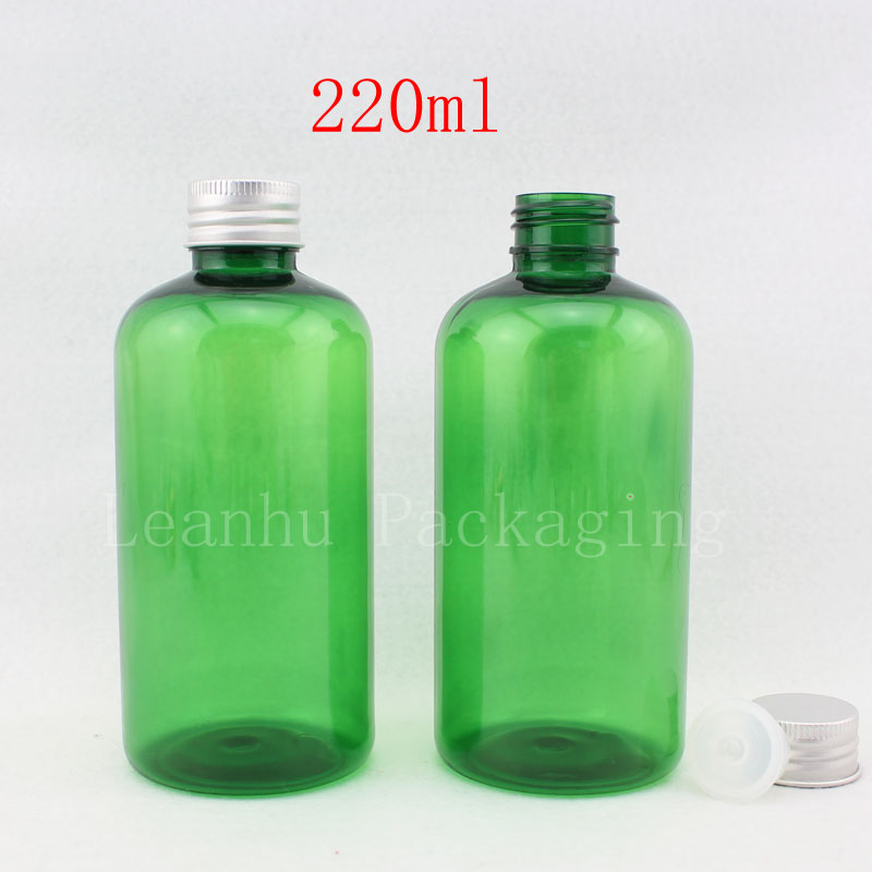 wholesale 220ml X 20 empty green aluminum cap PET bottle , lotion cosmetics containers, cosmetic packaging bottle liquid soap(China (Mainland))