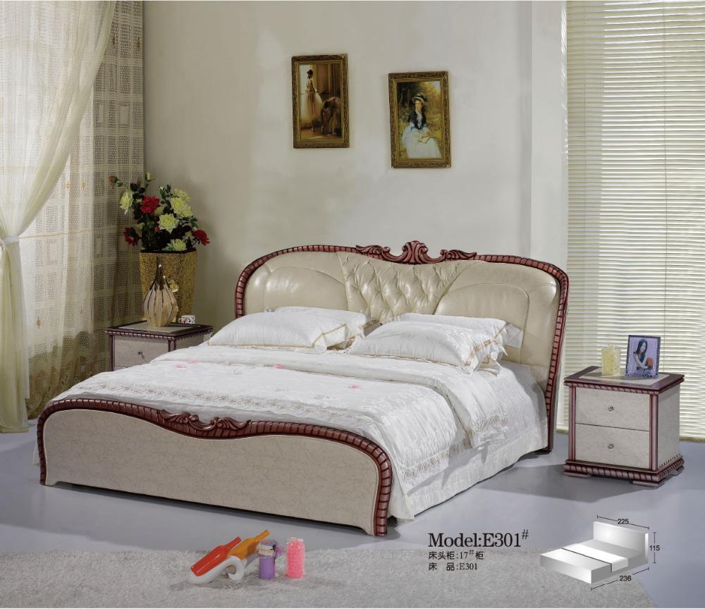 Modern China Genuine Leather Bed For Bedroom Furniture Set In Bedroom