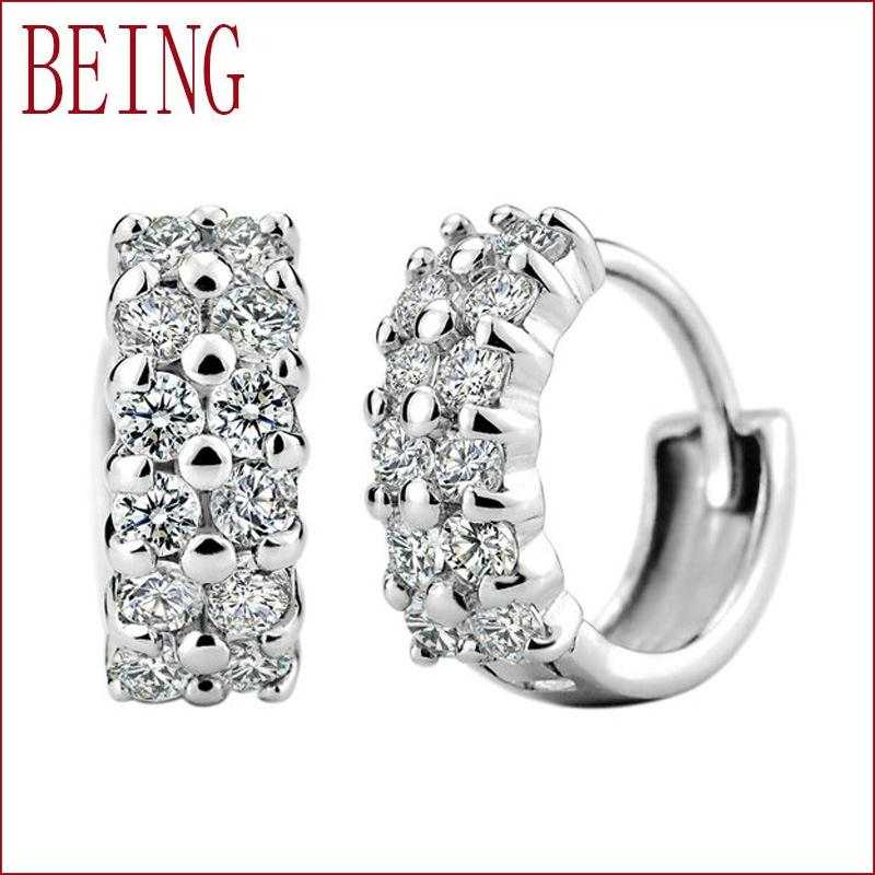 2016 new fashion high quality women's silver ear ring luxury crystal double drainage CZ earrings jewelry wholesale(China (Mainland))