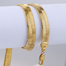 free shipping  Mens Boys 18K Gold Filled 4mm Width Herringbone Necklace Chain Jewelry