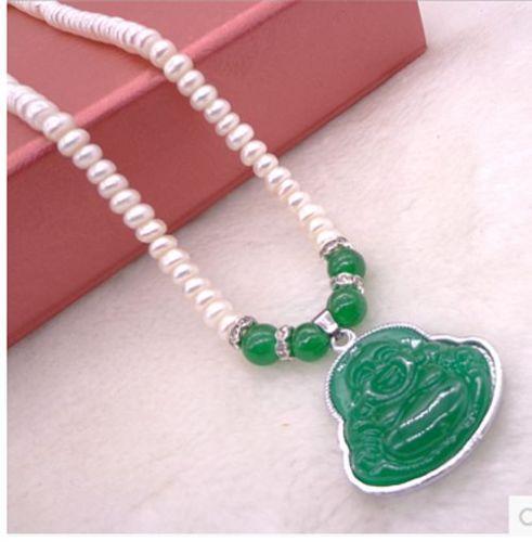 "handmade stunning 6X9mm white natural white freshwater pearl green pendant necklace 18"" Fashion Jewelry(China (Mainland))"