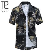 2015 Summer Style Mens Polyester Shirt Men Casual Short Sleeve Floral Print Beach shirt shirt lapel male Beach Camisas St20