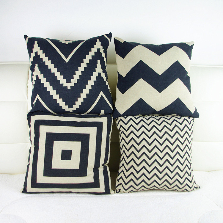 Black And White Decorative Pillow Cases : Retro Decorative Pillow Covers black and white geometric Pillowcase abstraction-in Pillow Case ...