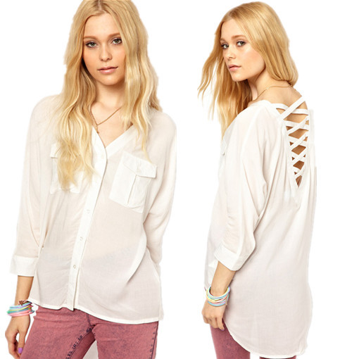 2015 new arrival casual summer tops shirt women blouses shirts female white blouse camisa camisas femininas