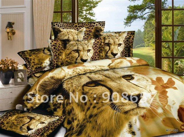 brand new 500TC brown leopard animal prints 100% cotton home textile bedding quilt/duvet cover sets 4pc for full/queen comforter