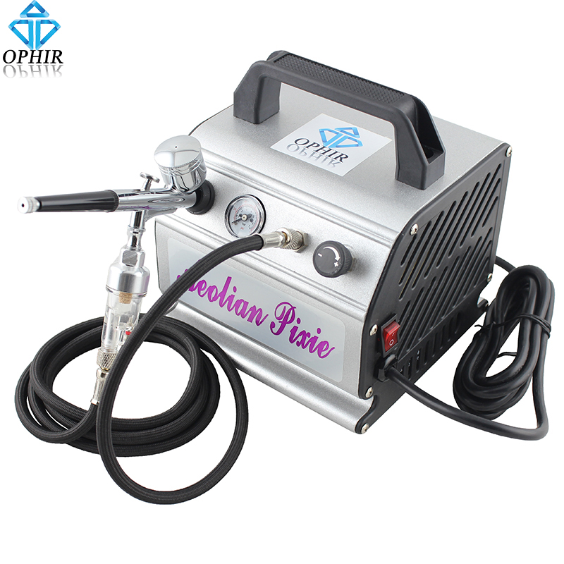 OPHIR 110V/220V Air Compressor with Gravity Airbrush Kit Dual Action Airbrush Compressor Set for Model Hobby Makeup_AC088+AC004(China (Mainland))
