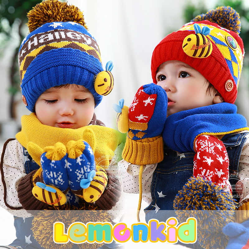 2015 new Very Cheap Fashion cute cartoon bee thick warm Baby Gloves Baby Mittens 3-10 years Winter Warm gloves HM24(China (Mainland))