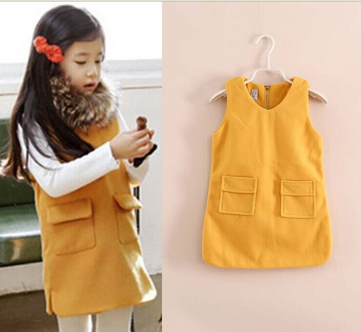 6pcs/lot 2014 autumn and winter new arrival beautiful children dresses girls sleeveless dress  high quality 3 colors size2-10<br><br>Aliexpress